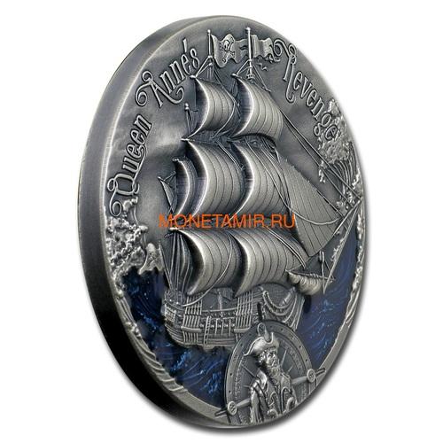 Камерун 2000 франков 2019 Корабль Месть Королевы Анны Черная Борода серия Золотой Век Мореплавания (Cameroon 2000 Francs 2019 Revenge Queen Anne's Blackbeard's Ship 2 oz Silver Coins).Арт.67 (фото, вид 1)