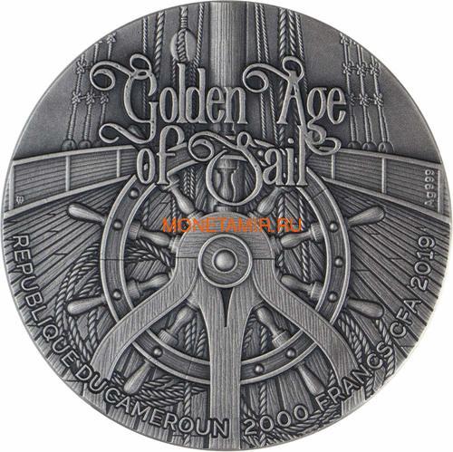 Камерун 2000 франков 2019 Корабль Месть Королевы Анны Черная Борода (Cameroon 2000 Francs 2019 Revenge Queen Anne's Blackbeard's Ship 2 oz Silver Coins).Арт.67 (фото, вид 2)