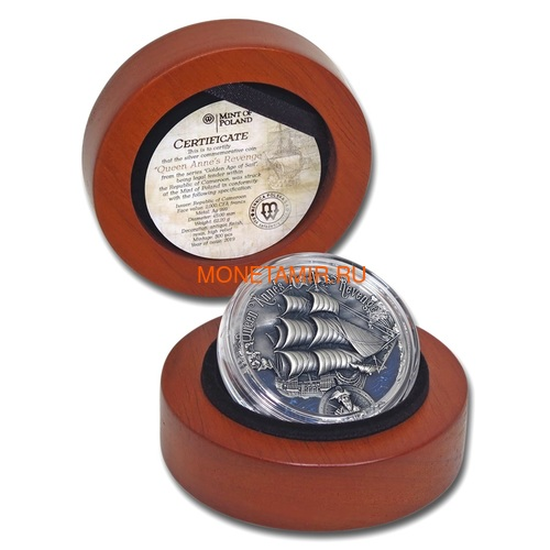 Камерун 2000 франков 2019 Корабль Месть Королевы Анны Черная Борода серия Золотой Век Мореплавания (Cameroon 2000 Francs 2019 Revenge Queen Anne's Blackbeard's Ship 2 oz Silver Coins).Арт.67 (фото, вид 3)