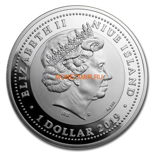 Ниуэ 1 доллар 2019 Суэцкий Канал 150 лет Корабль (Niue 1$ 2019 150th Anniversary of The Suez Canal Proof Silver Coin).Арт.65 (фото, вид 1)