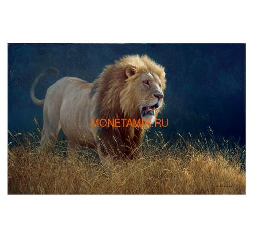 Канада 100 долларов 2019 Лев Художник Роберт Бейтман (Canada 100$ 2019 Robert Bateman Into The Light Lion 10 oz Silver Coin Gold Plating).Арт.65 (фото, вид 4)