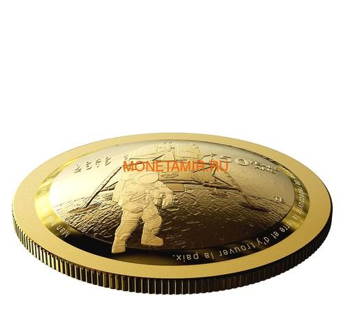 Канада 100 долларов 2019 Аполлон 11 Высадка на Луну 50 лет Космос Выпуклая Форма (Canada 100$ 2019 Apollo 11 Moon Landing 50th Anniversary Gold Coin).Арт.65 (фото, вид 1)