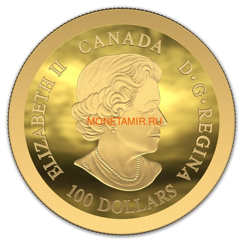 Канада 100 долларов 2019 Аполлон 11 Высадка на Луну 50 лет Космос Выпуклая Форма (Canada 100$ 2019 Apollo 11 Moon Landing 50th Anniversary Gold Coin).Арт.65 (фото, вид 2)