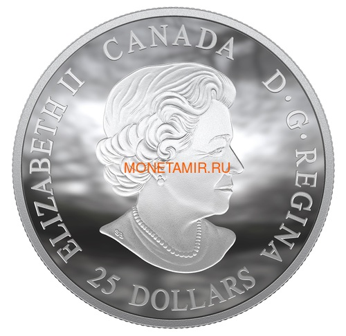 Канада 25 долларов 2019 Аполлон 11 Высадка на Луну 50 лет Космос Выпуклая Форма (Canada 25$ 2019 Apollo 11 Moon Landing 50th Anniversary Silver Coin).Арт.65 (фото, вид 2)