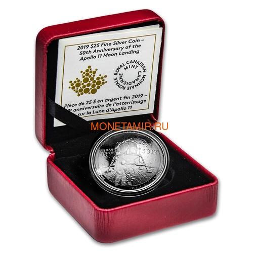 Канада 25 долларов 2019 Аполлон 11 Высадка на Луну 50 лет Космос Выпуклая Форма (Canada 25$ 2019 Apollo 11 Moon Landing 50th Anniversary Silver Coin).Арт.65 (фото, вид 3)