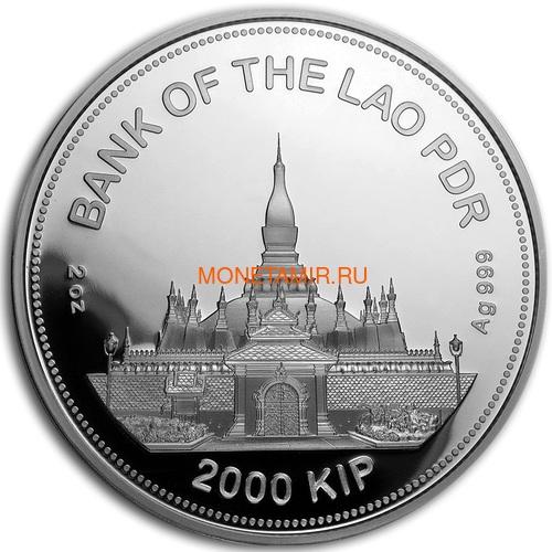 Лаос 2000 кип 2020 Год Крысы Лунный Календарь Нефрит (Laos 2000K 2020 Lunar Rat Jade 2 Oz Silver Coin).Арт.67 (фото, вид 1)