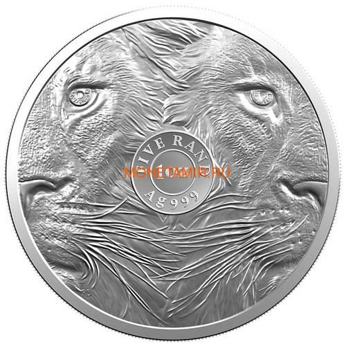 Южная Африка 5 рандов 2019 Лев Большая Африканская Пятерка (South Africa 5R 2019 Lion Big Five 1oz Silver Coin) Блистер.Арт.65 (фото, вид 1)