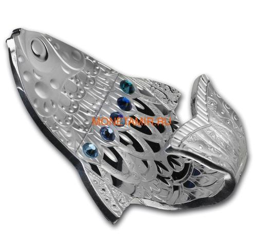 Камерун 2000 франков 2018 Рыба Загадать Желание Набор 3 Монеты (Cameroon 2000 Francs 2018 Make a Wish Fish 3D Swarovski Silver Coin Set).Арт.66 (фото, вид 2)
