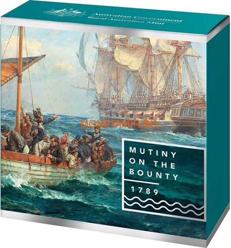 Австралия 5 долларов 2019 Мятеж на Баунти Корабль (Australia 5$ 2019 Mutiny on the Bounty Ship 1 oz Silver Coin).Арт.65 (фото, вид 3)