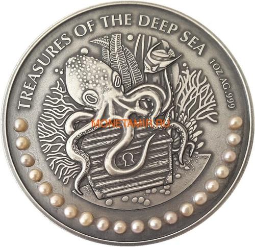 Гана 3х5 седи 2019 Морские Сокровища Корабль Якорь Осьминог Жемчуг Набор 3 монеты (Ghana 3x5 Cedis 2019 Treasures of the Deep Sea Ship Anchor Octopus Pearls Silver Coin Set).Арт.002261357240/65 (фото, вид 2)