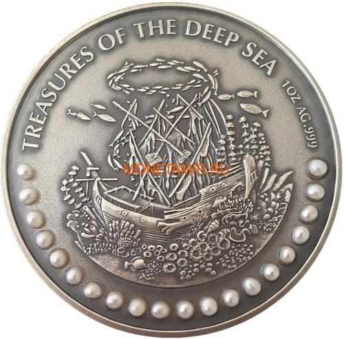 Гана 3х5 седи 2019 Морские Сокровища Корабль Якорь Осьминог Жемчуг Набор 3 монеты (Ghana 3x5 Cedis 2019 Treasures of the Deep Sea Ship Anchor Octopus Pearls Silver Coin Set).Арт.002261357240/65 (фото, вид 3)