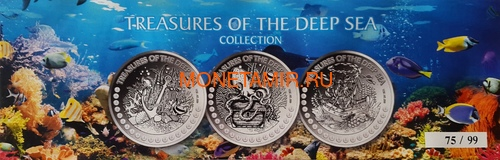 Гана 3х5 седи 2019 Морские Сокровища Корабль Якорь Осьминог Жемчуг Набор 3 монеты (Ghana 3x5 Cedis 2019 Treasures of the Deep Sea Ship Anchor Octopus Pearls Silver Coin Set).Арт.002261357240/65 (фото, вид 9)