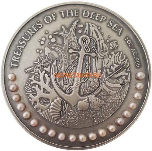 Гана 3х5 седи 2019 Морские Сокровища Корабль Якорь Осьминог Жемчуг Набор 3 монеты (Ghana 3x5 Cedis 2019 Treasures of the Deep Sea Ship Anchor Octopus Pearls Silver Coin Set).Арт.002261357240/65 (фото, вид 1)