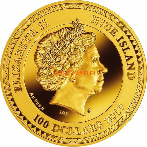 Ниуэ 100 долларов 2019 Дерево Удачи Бриллиант (Niue 100$ 2019 Tree of Luck Diamond 1,5 Oz Gold Coin).Арт.75 (фото, вид 1)
