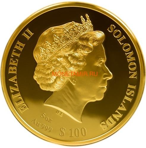 Соломоновы Острова 100 долларов 2020 Лейф Эрикссон Открытие Нового Мира Корабль Перламутр (Solomon Isl 100$ 2020 Discovery of the New World Leif Erikson Mother of Pearl Gold Coin Proof).Арт.25/90 (фото, вид 1)