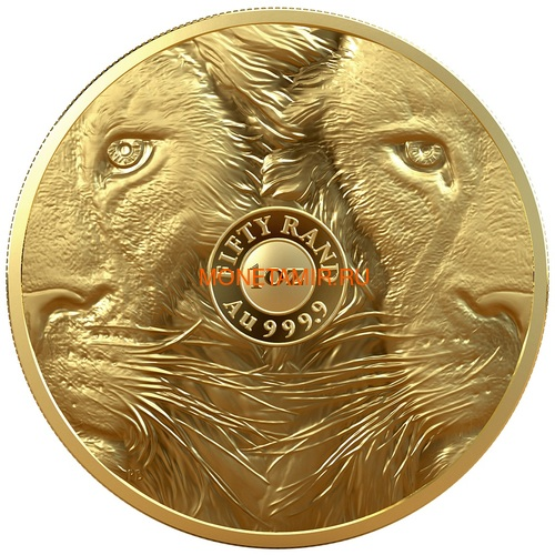 Южная Африка 50 рандов 2019 Лев Большая Африканская Пятерка (South Africa 50 Rand 2019 Lion Big Five 1 oz Gold Coin).Арт.65 (фото, вид 1)