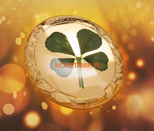 Палау 1 доллар 2020 Клевер На Удачу (Palau 1$ 2020 Good Luck 4-leaf Clover).Арт.65 (фото, вид 2)