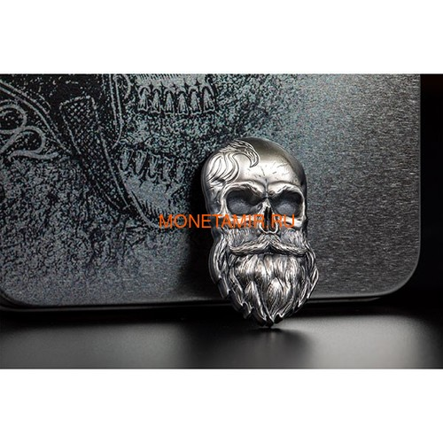 Палау 5 долларов 2019 Череп Байкера (Palau 5$ 2019 Biker Skull 1 oz Silver Coin).Арт.65 (фото, вид 3)