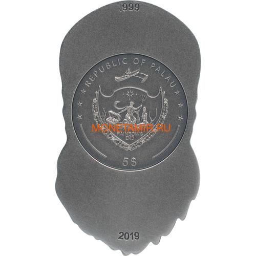 Палау 5 долларов 2019 Череп Байкера (Palau 5$ 2019 Biker Skull 1 oz Silver Coin).Арт.65 (фото, вид 2)