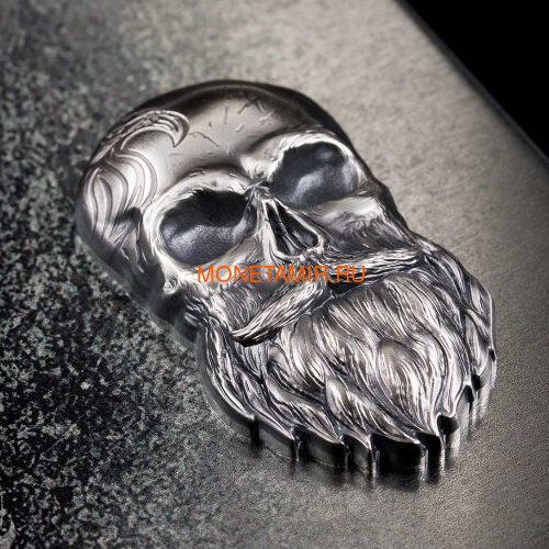 Палау 5 долларов 2019 Череп Байкера (Palau 5$ 2019 Biker Skull 1 oz Silver Coin).Арт.65 (фото, вид 1)