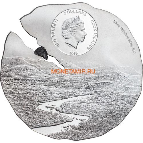 Острова Кука 2 доллара 2019 Метеорит Эстакадо (Cook Isl 2$ 2019 Meteorite Estacado ½ Oz Titanium Silver).Арт.65 (фото, вид 1)