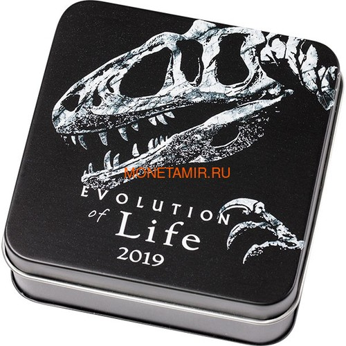 Монголия 500 тугриков 2019 Синраптор Эволюция (Mongolia 500T 2019 Evolution of Life Sinraptor 1oz Silver Coin).Арт.65 (фото, вид 3)