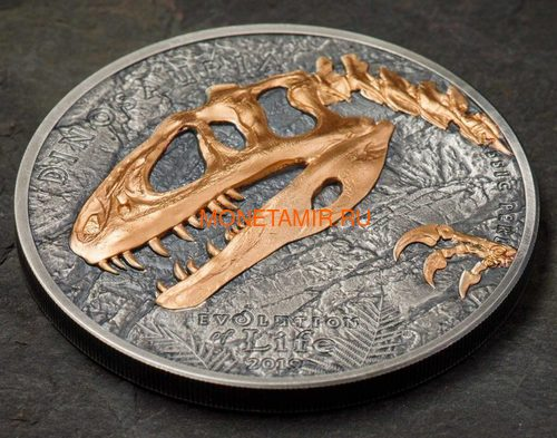 Монголия 500 тугриков 2019 Синраптор Эволюция (Mongolia 500T 2019 Evolution of Life Sinraptor 1oz Silver Coin).Арт.65 (фото, вид 1)