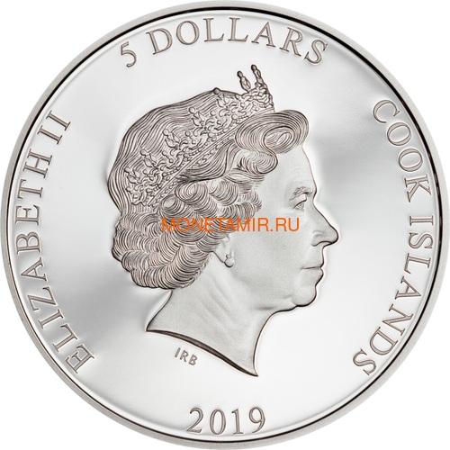 Острова Кука 5 долларов 2019 Филиппинский Орел серия Великолепная Жизнь (Cook Isl 5$ 2019 Magnificent Life Philippine Eagle 1oz Silver Coin).Арт.65 (фото, вид 2)