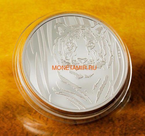 Монголия 250 тугриков 2019 Тигр (Mongolia 250T 2019 Hidden Tiger ½ oz Silver Coin Blister).Арт.65 (фото, вид 1)