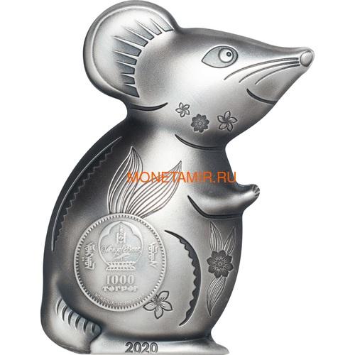 Монголия 1000 тугриков 2020 Остроумная Серебряная Мышка Фигурка (Mongolia 1000T 2020 Witty Silver Mouse 1 oz Silver Coin).Арт.65 (фото, вид 1)