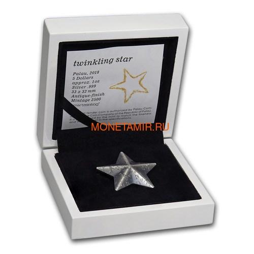 Палау 5 долларов 2018 Мерцающая Звезда (Palau 5$ 2018 Twinkling Star 1 oz Silver Coin).Арт.65 (фото, вид 5)