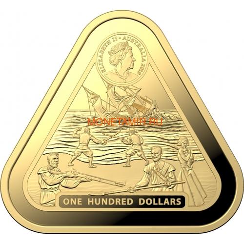 Австралия 100 долларов 2019 Корабль Батавия Австралийские Кораблекрушения (Australia 100$ 2019 Batavia Australian Shipwrecks First Triangular Bullion 1 oz Gold Coin).Арт.65 (фото, вид 1)