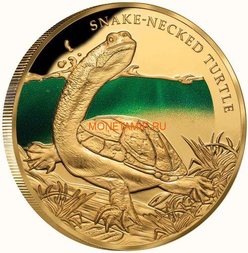 Ниуэ 100 долларов 2020 Змеиношеяя Черепаха Замечательные Рептилии (Niue 100$ 2020 Remarkable Reptile Snake Neck Turtle 1Oz Gold Proof).Арт.65 (фото, вид 1)