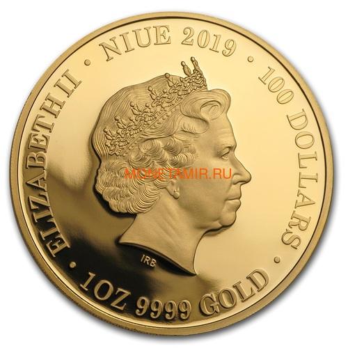 Ниуэ 100 долларов 2019 Ночная Австралия Кенгуру (Niue 100$ 2019 Australia at Night Kangaroo 1oz Gold Proof Coin).Арт.65 (фото, вид 1)