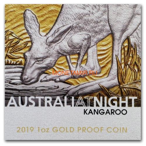Ниуэ 100 долларов 2019 Ночная Австралия Кенгуру (Niue 100$ 2019 Australia at Night Kangaroo 1oz Gold Proof Coin).Арт.65 (фото, вид 5)