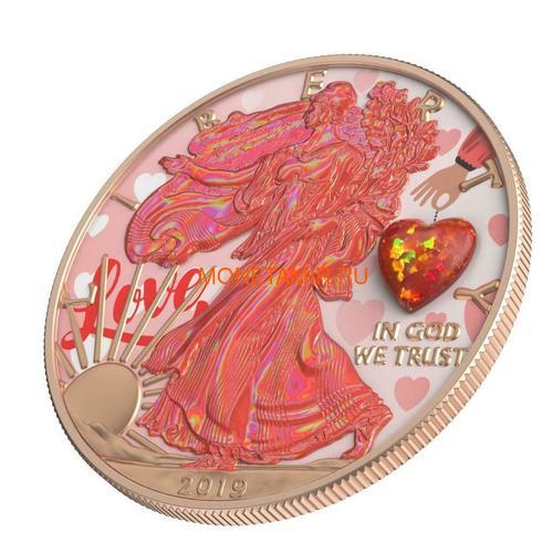Соединенные Штаты Америки 1 доллар 2019 Сердце Опал Амулет Свобода (2019 USA 1$ Liberty Opal Heart Amulet 1oz Silver Coin).Арт.65 (фото, вид 1)