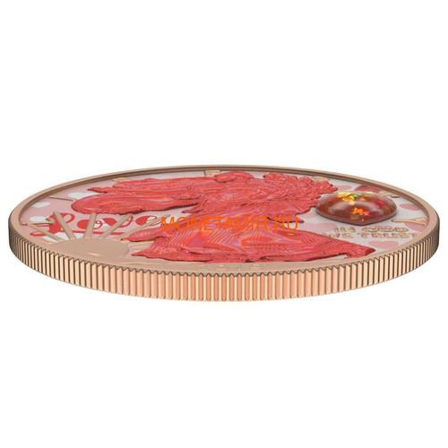 Соединенные Штаты Америки 1 доллар 2019 Сердце Опал Амулет Свобода (2019 USA 1$ Liberty Opal Heart Amulet 1oz Silver Coin).Арт.65 (фото, вид 2)