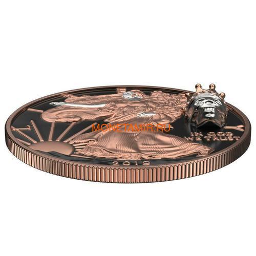 Соединенные Штаты Америки 1 доллар 2019 Череп Короля Свобода (2019 USA 1$ Liberty King's Skull 1oz Silver Coin).Арт.65 (фото, вид 2)
