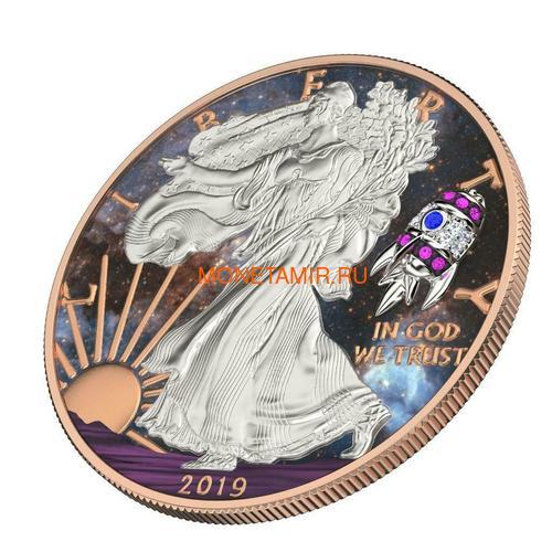 Соединенные Штаты Америки 1 доллар 2019 Космическая Ракета Свобода (2019 USA 1$ Liberty Space Rocket 1oz Silver Coin).Арт.65 (фото, вид 1)