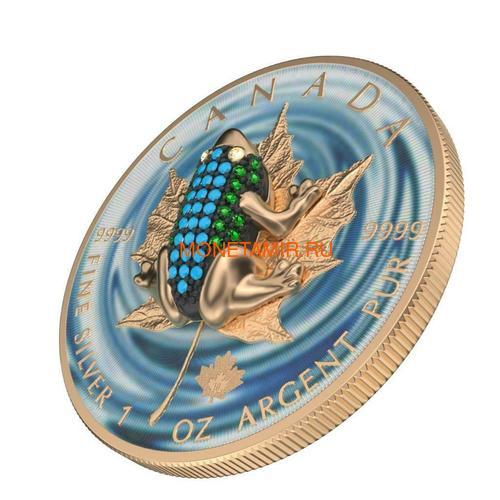 Канада 5 долларов 2019 Кленовый Лист Лягушка (2019 Canada 5$ Maple Leaf Bejeweled Frog 1oz Silver Coin).Арт.65 (фото, вид 1)