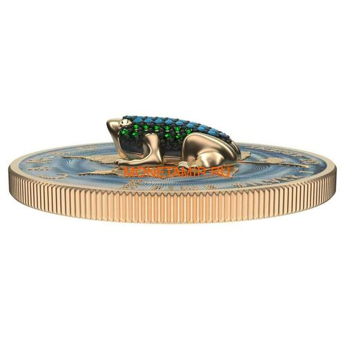 Канада 5 долларов 2019 Кленовый Лист Лягушка (2019 Canada 5$ Maple Leaf Bejeweled Frog 1oz Silver Coin).Арт.65 (фото, вид 2)