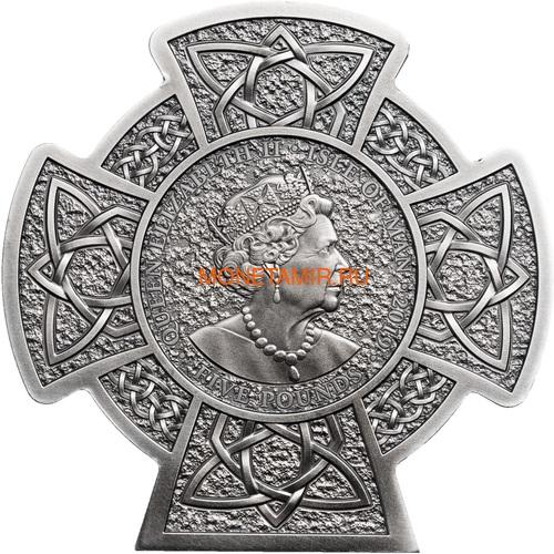 Остров Мэн 5 фунтов 2019 Мананнан Первый Король Острова Мэн Кельтский Крест (Isle of Man 5£ 2019 Manannán 1st King of Mann 3 Oz Coin Silver).Арт.65 (фото, вид 1)