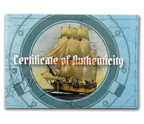 Соломоновы острова 200 долларов 2018 Барк Индевор 250 лет Перламутр (Solomon Isl. 200$ 2018 250Y James Cook's Ship Endeavour Commissioning Mother of Pearl Gold Coin Proof).Арт.60 (фото, вид 4)