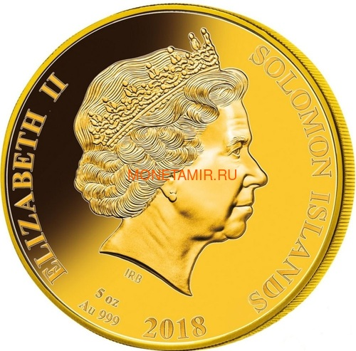 Соломоновы острова 200 долларов 2018 Барк Индевор 250 лет Перламутр (Solomon Isl. 200$ 2018 250Y James Cook's Ship Endeavour Commissioning Mother of Pearl Gold Coin Proof).Арт.60 (фото, вид 1)