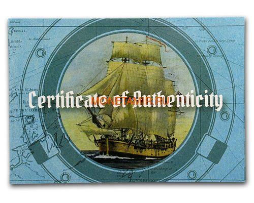 Соломоновы Острова 25 долларов 2018 Барк Индевор 250 лет Перламутр (Solomon Isl 25$ 2018 250Y James Cook's Ship Endeavour Commissioning Mother of Pearl Silver Coin Proof).Арт.60 (фото, вид 4)