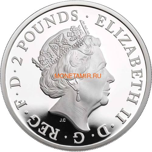 Великобритания 2 фунта 2020 Белый Лев Мортимера серия Звери Королевы (GB 2£ 2020 Queen's Beast White Lion of Mortimer Silver Coin).Арт.65 (фото, вид 1)