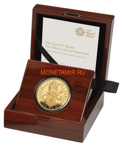 Великобритания 100 фунтов 2020 Белый Лев Мортимера серия Звери Королевы (GB 100£ 2020 Queen's Beast White Lion of Mortimer Gold Coin).Арт.65 (фото, вид 2)