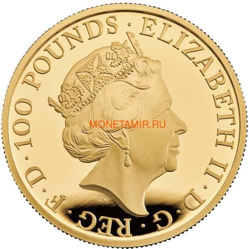 Великобритания 100 фунтов 2020 Белый Лев Мортимера серия Звери Королевы (GB 100£ 2020 Queen's Beast White Lion of Mortimer Gold Coin).Арт.65 (фото, вид 1)