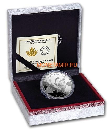 Канада 15 долларов 2020 Год Крысы Лунный Календарь (Canada 15$ 2020 Year of the Rat Lunar 1oz Silver Coin Proof).Арт.000450657573/65 (фото, вид 3)