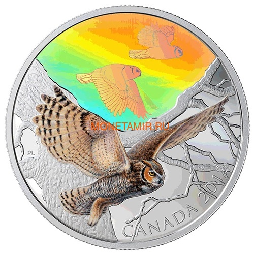 Канада 30 долларов 2019 Большая Рогатая Сова Величественные Птицы в Движении Голограмма (Canada 30$ 2019 Majestic Birds in Motion Great Horned Owls 2 oz Silver Hologram Coin).Арт.65 (фото, вид 1)